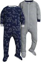 GERBER Baby Boys 2-Pack Footed Unionsuit, Dogs, 9 Months, Dogs, Size 9.0 wSLL