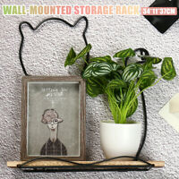 Wooden Hanging Shelf Retro Storage Rack Flower Plant Pot  Wall Display Decor