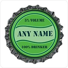 PERSONALISED BEER LAGER STYLE BOTTLE TOP PRINT 9CM SQUARE COASTER BIRTHDAY GIFT