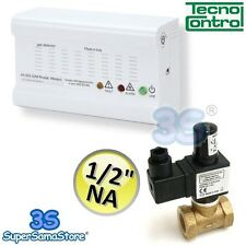 "3S KIT TECNOCONTROL FUGHE GAS METANO CASA RILEVATORE + ELETTROVALVOLA 1/2"" N.A."