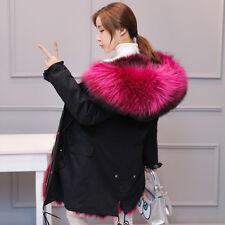 Womens Real Fur Collar Hooded Parka Fox Lined Outwears Winter Jacket Coats Warm