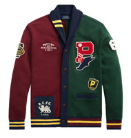 Polo Ralph Lauren Men P Wing Patchwork Letterman Varsity Rugby Sweater Cardigan