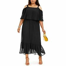 MSRP $70 NY Collection Womens Plus Petite Popover Maxi Dress Black Size 3X