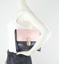 MARNI Two Tone Patent Leather Clutch Pink Black Silver Buckle Hand Bag Medium