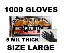 PITBULL Black Nitrile Gloves, 6 mil, Powder Free, Case of 1000 Size L LARGE