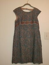 Suzi Chin for Maggy Boutique Chic Floral Lace Dress Size 6 Blue/Bronze