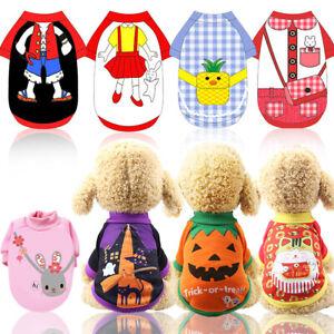 Small Pet Dog T-Shirt Clothes Puppy Coat Halloween Apparel Costumes Cat Tops UK