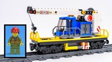 LEGO Train Carriage Flatbed Rotating Crane Cargo Freight Wagon & Minifig 60198
