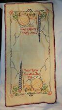 1939  New York Worlds Fair Hand Stitch Embroidery Linen Kitchen Hand Towel