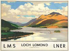 TRAVEL SCOTLAND LOCH LOMOND RAIL ART POSTER PRINT LV4100