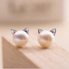 Classic Pearl Cats Ears 30% Sterling Silver Stud Earrings