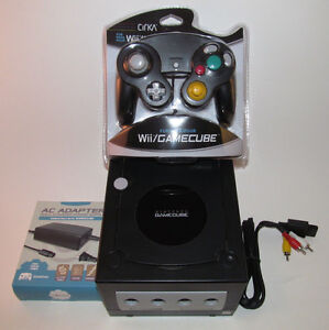 Black Nintendo GameCube Console Bundle System New Jet Black Controller & Hookups