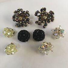 Lot Of 4 Women's Clipon Costume Earrings CLIP On Beaded Beads
