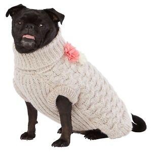 Top Paw Dog Knitted Beige Flower Sweater Turtleneck XS-L Winter Wear Warmth