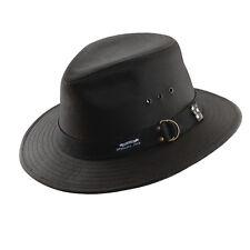 PANAMA JACK ORIGINAL *  BLACK CANVAS FEDORA HAT ** 1 L ** MENS SAFARI SHADY GOLF