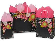 125 Customizable Chalk Flowers Shopping Gift Bags 100% Recycled Paper Hot Pink