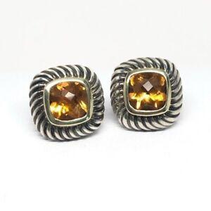 David Yurman Citrine Albion Stud Earrings 925/14K