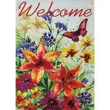 "WATERCOLOR FLORAL 12.5"" X 18"" GARDEN FLAG 11-2795-123 RAIN OR SHINE SUMMER"