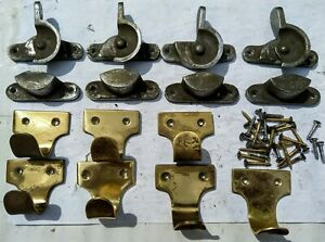 SASH WINDOW LOCKS LATCH SET ARM CASH & PLATE SET OF 4 OLD VINTAGE CATCHES