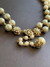 Sign Miriam Haskell Huge Baroque Pearls Rhinestone 2/Strand Necklace Jewelry 26""