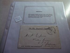 RARE COOK ISLANDS Stamp Less OHMS  1916 Cover To AUSTRALIA