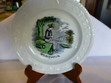 """Antique Staffordshire ABC Plate Fishing Scene - Harry Baiting Is His Line 5 1/2"""""""