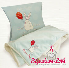 Personalised and Embroidered Rufus Rabbit Blue Blanket/New Baby Boy Gift