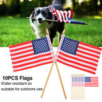 10x Handheld on Stick Trump Flag Hand Waving Flags US Parade Flags American Flag