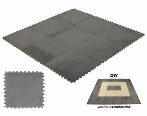 9 pcs Interlocking Floor Mats Carpet Tiles Plush Foam Square Mats for Bed Room