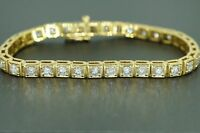 Antique Heavy Vintage 5CT Natural Diamond Tennis Bracelet Bangle 18k Yellow Gold