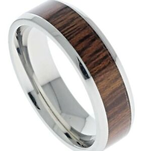 Simulated Wood Grain Inlay Polished Stainless Steel Ladies Ring Size 8 T59