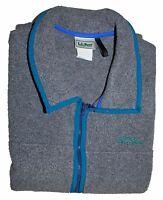 L.L. Bean Men's Fleece Vest Gray w/Blue Trim Full Zip Up Zipped Pockets