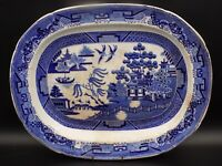 """Large Antique Victorian, Blue & White Meat/Serving Platter. Willow Pattern. 15"""""""