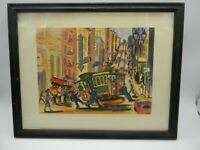 Ted Lewy Lithograh Print San Francisco Cable Car Tram Streetcar Powell framed