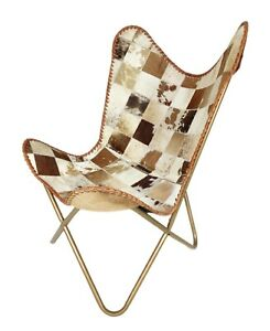 Goat Hair Leather Butterfly Chair With Foldable Iron Frame – Arm Chair S6-109