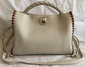 Designer Mulberry Iris Chalk Leather Tote Handbag Shoulder Cross Body Bag White