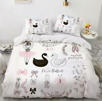 3D Black And White Swan Ballet KEP5697 Bed Pillowcases Quilt Duvet Cover Kay