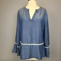 Fourteeth Place Pullover Top Shirt Blouse Long Sleeve Size Large Blue Denim