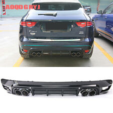 For Jaguar F-PACE 2016-19 Rear bumper lip&4 exhaust Tail pipes cover upgrade kit