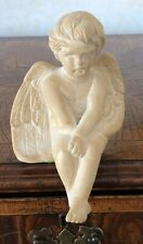 Adorable Angel/ Cherub Sitting On Edge Of Shelf Figure Vintage