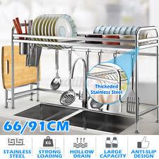 66/91CM Stainless Steel Kitchen Rack Dish Drain Drying Holder Over Sink Storage