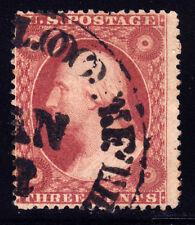 """#26A - 3 Cents 1857, 71L10L, black """"xxxx BLOOMFIELD/JAN"""" CDS, Brownish Claret"""