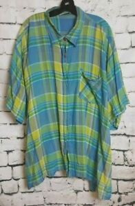 Erica Brooke Green/Blue Plaid Collared Top (Size: 36)