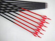 "24pcs 30"" Black + Red Carbon arrow,500 spine,Hunting & archery/compound/recurve"