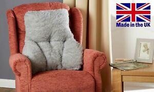 GREY BACK & LUMBAR SUPPORT CUSHION - Yorkshire Faux Sheepskin - MADE IN UK