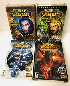 World Of WarCraft PC DVD-ROM Software Video Game Lot (Game + 3 Expansion Sets)