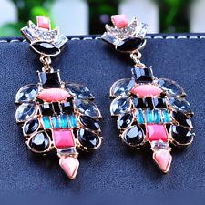 Geometric Flower Eardrop Ear Stud Elegant Women Earring Jewelry Colorful Resin