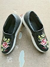 Lavish Floral Embroidered Leather Shoes Black Colour- Size 36