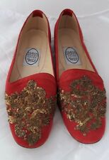 EMMA HOPE RED SUEDE BAROQUE SEQUINS ALBERT FLAT SHOES size 37.5