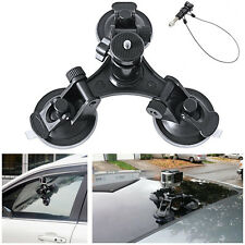 Triple Low Angle Suction Cup Mount Holder+12'' Safety Lanyard & Tether for GoPro
